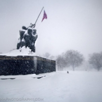 Iwo Jima Memorial in Blizzard 2010