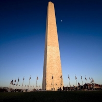 Washington Monument Moon Dusk