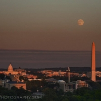 Washington Monument Moon Dusk Pink