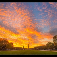 Washington Monument Sunset Wide