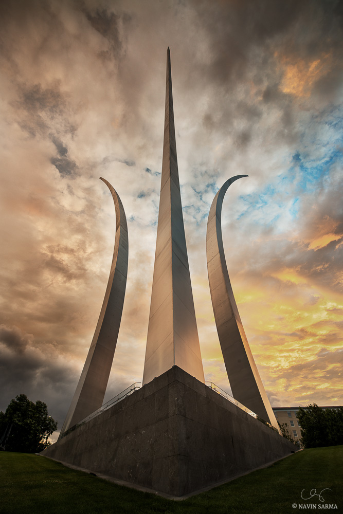 A colorful sunset after a powerful storm at the Air Force Memorial