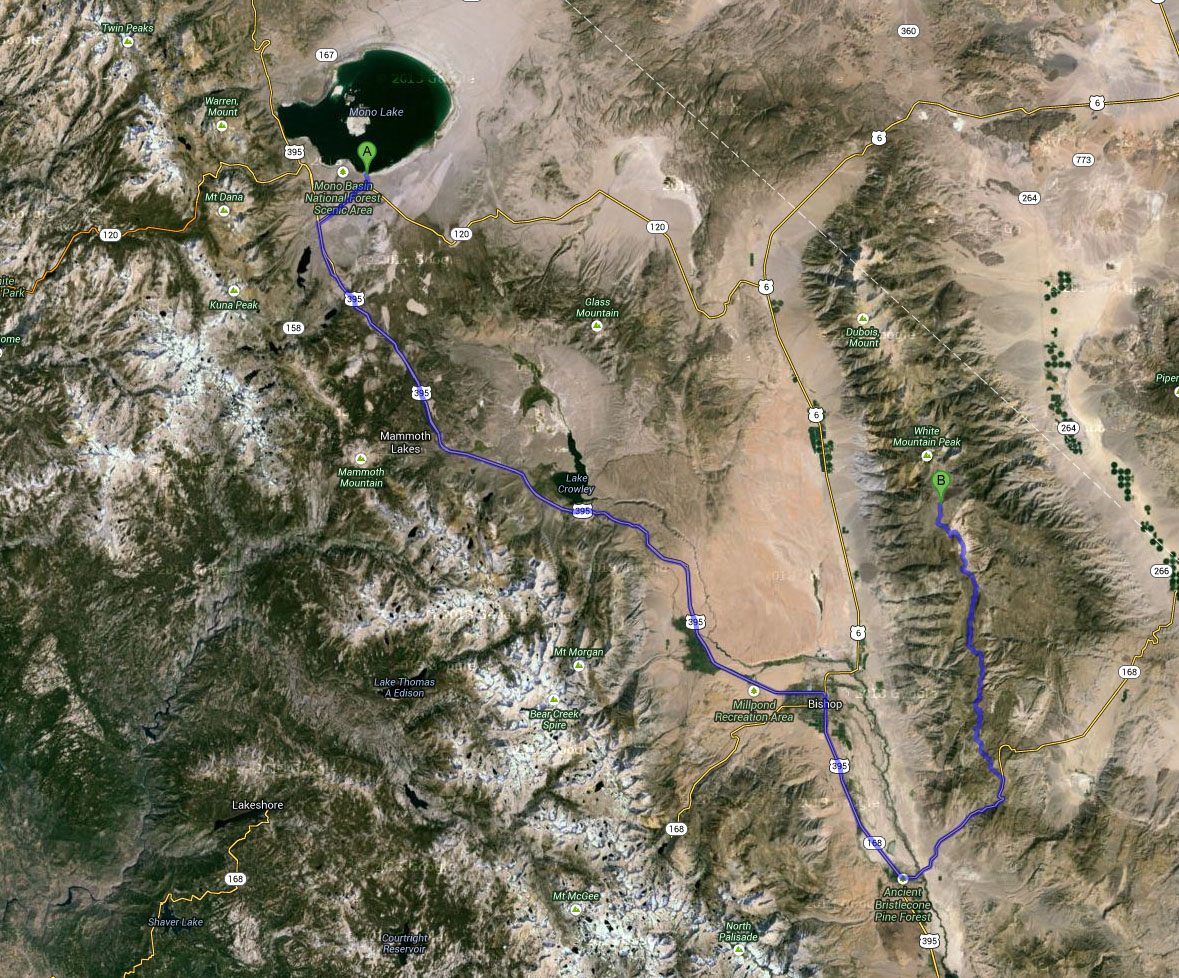 Map from Mono Lake to White Mountain