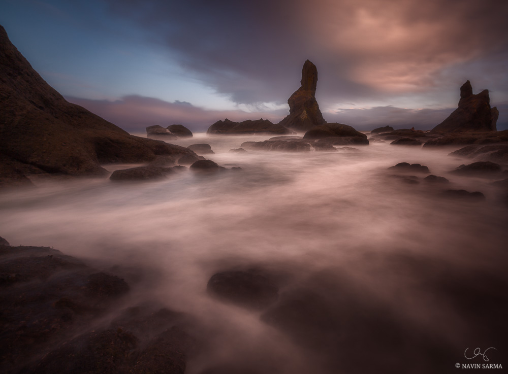 A long exposure enhances the dreamy scene at sunrise on the Olympic Coast