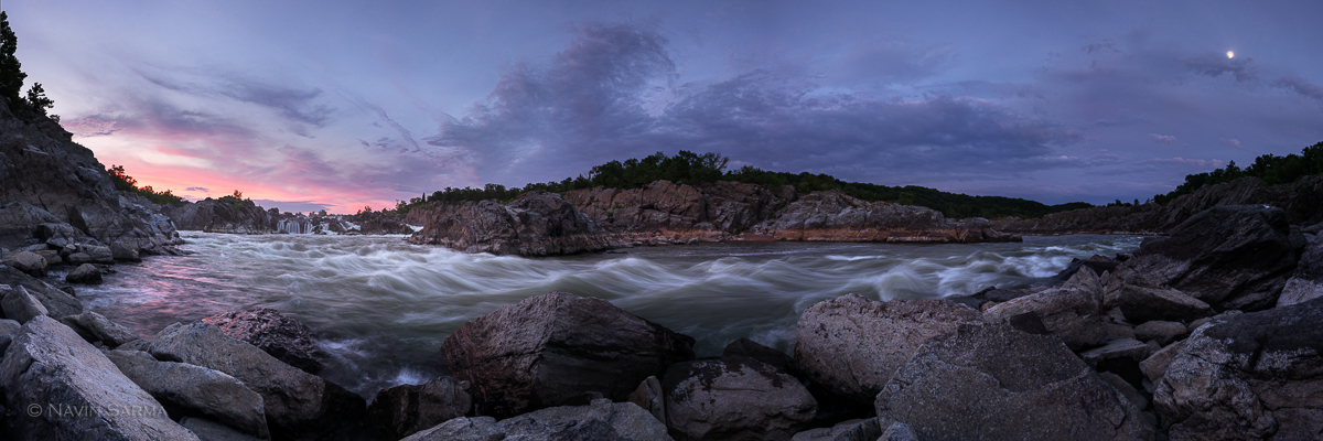 Great Falls Park Moon Panorama