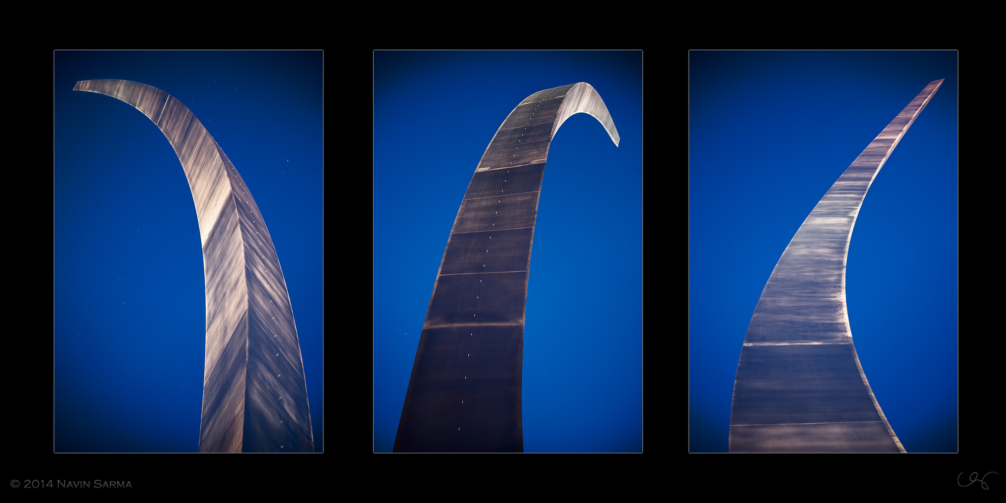 A composite of the three spires of the Air Force Memorial that make up the missing man formation