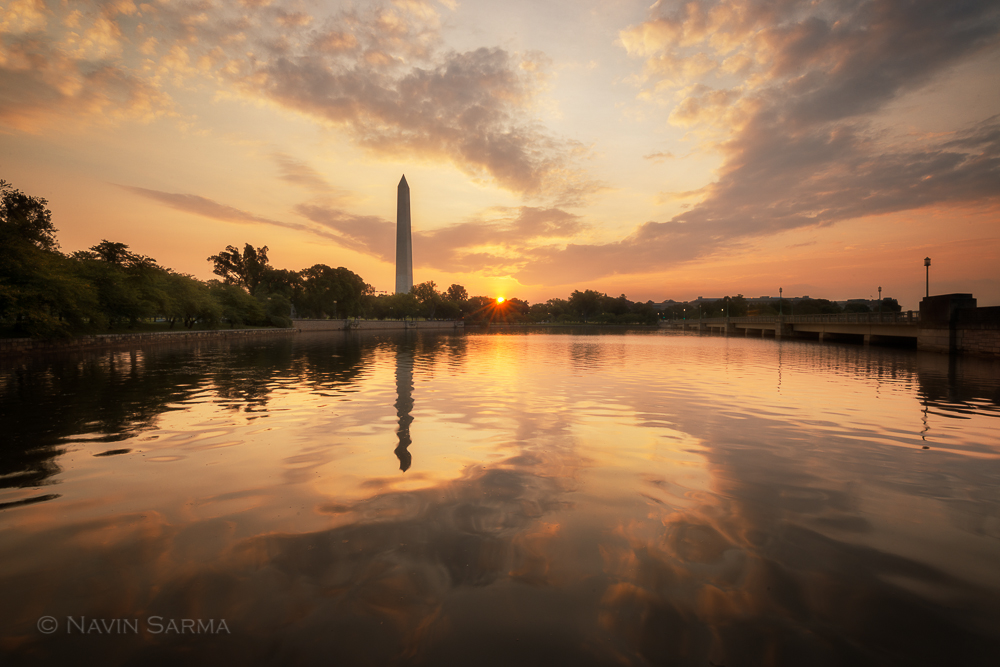 A gorgeous sunrise during August on the Tidal Basin of Washington DC