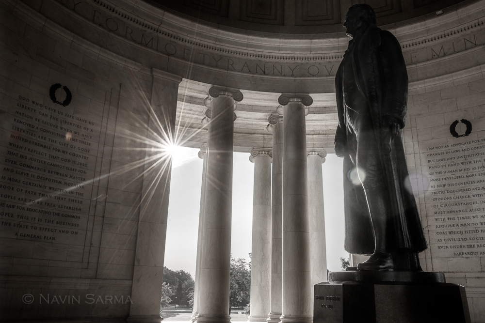 Sunlight streams into the Jefferson Memorial