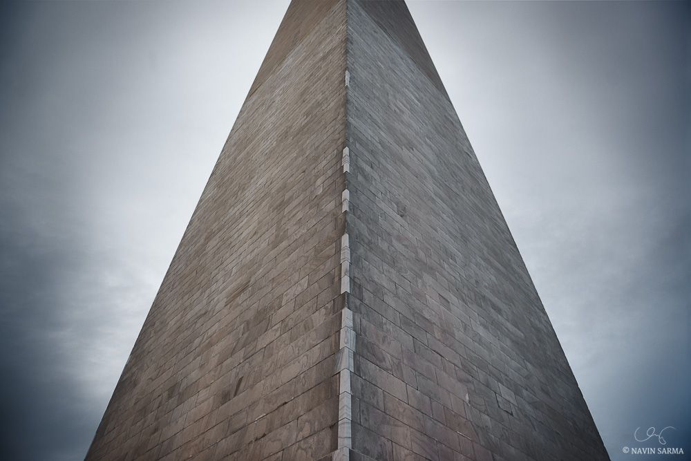 A wide view at the base of the Washington Monument