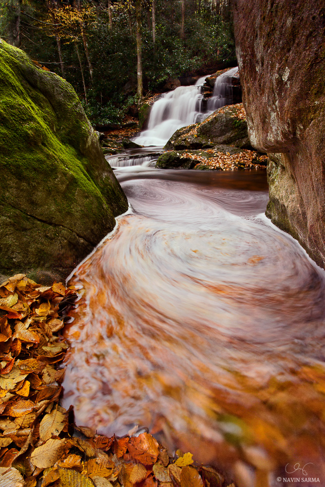 Beautiful waterfalls and colors during peak autumn conditions from the deep gorges of Blackwater Falls