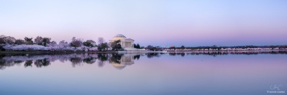 Peak cherry blossom panorama at the Tidal Basin and Jefferson Memorial