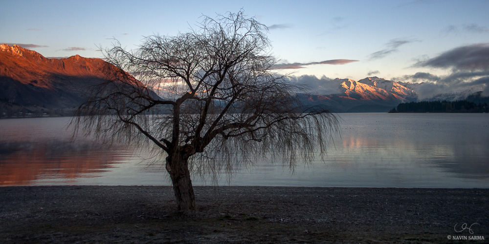 Lake Wakatipu of South Island, New Zealand during a winter sunrise