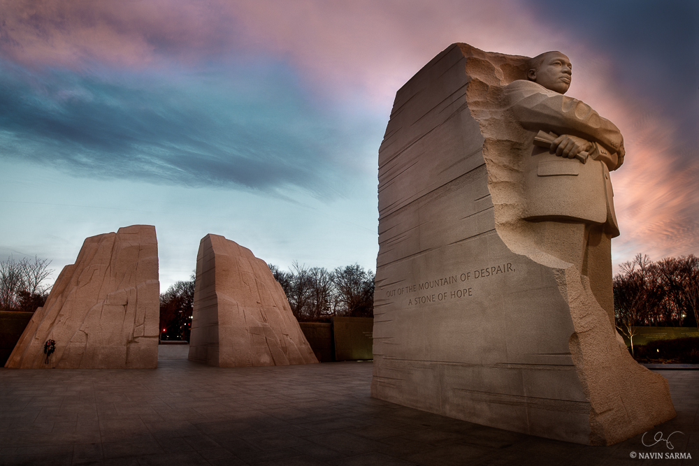 Sunrise on MLK day 2014 at the Martin Luther King Memorial