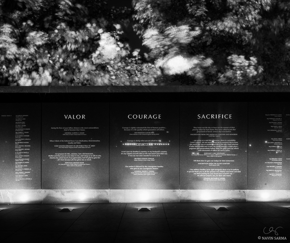 Air Force Memorial Long Exposure Black and White