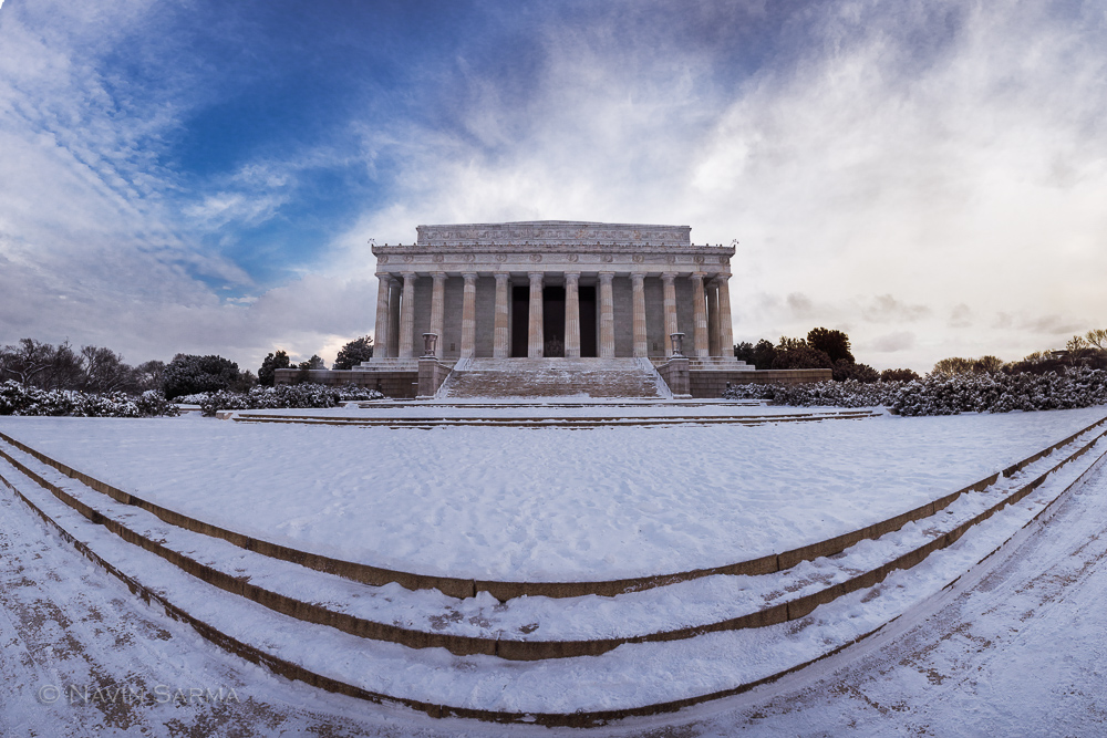 A panorama of the Lincoln Memorial with some wide angle distortion used for artistic effect