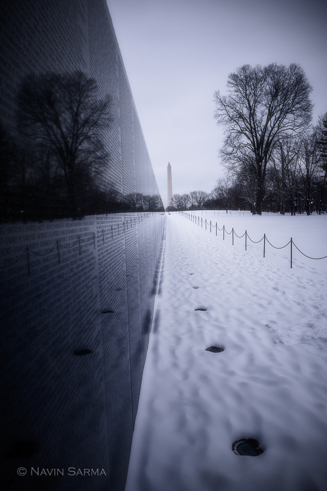 Sunrise after a fresh coat of snow at the Vietnam Memorial in Washington DC