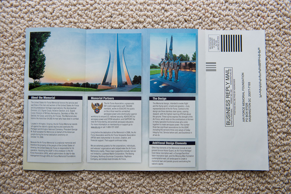 Air Force Memorial Calendar and Brochure