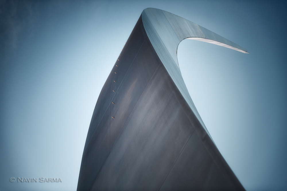 A spire of the Air Force Memorial towers to the sky