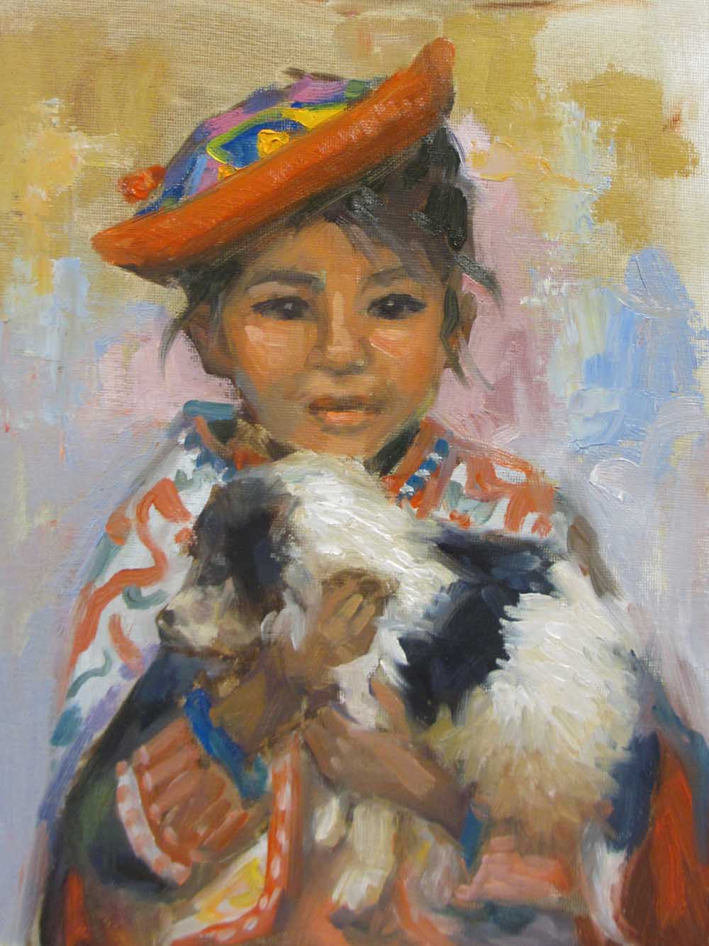 "Painting of Navin Sarma's ""Girl with Dog"""