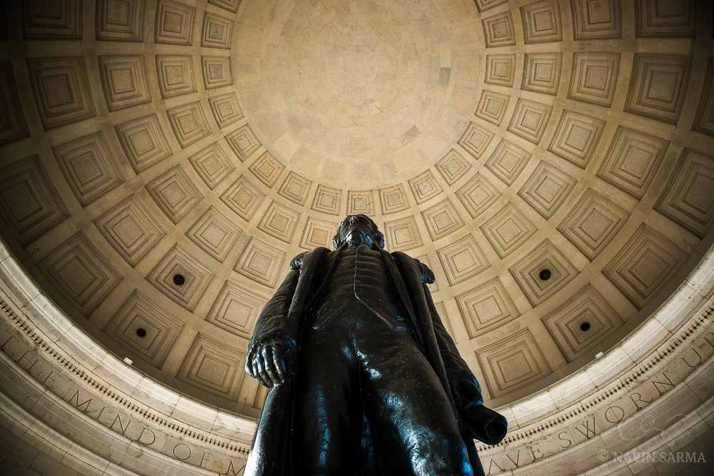 A low angle accentuates the size and power of the Jefferson Memorial