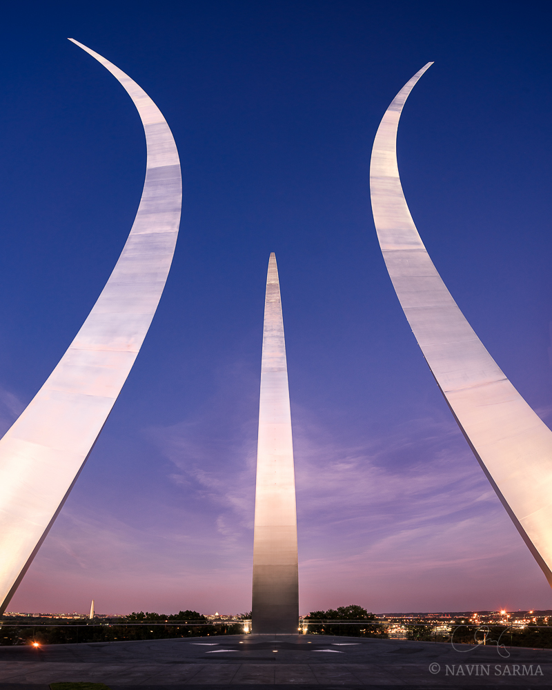 A clear late summer sunset at the Air Force Memorial