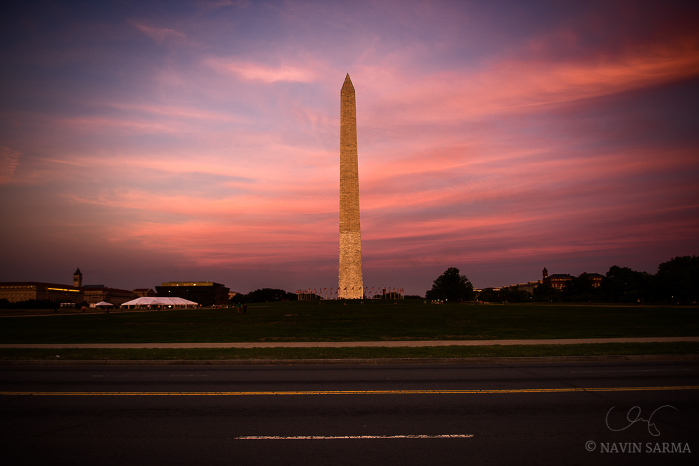 Pink hues surround the Washington Monument at sunset