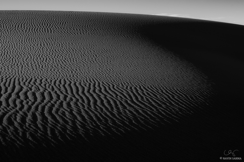 Undulations in dunes create beautiful shapes as morning light hits Great Sand Dunes National Park