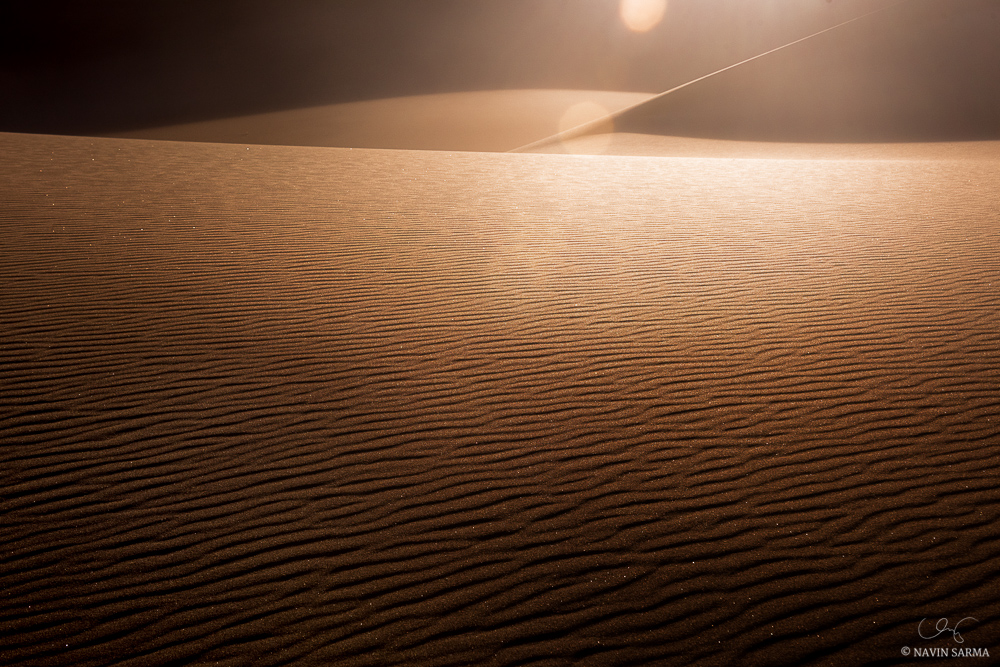 The sun selects sand specks to illuminate as sparkles within the windblown ridges of sand of Great Sand Dunes National Park