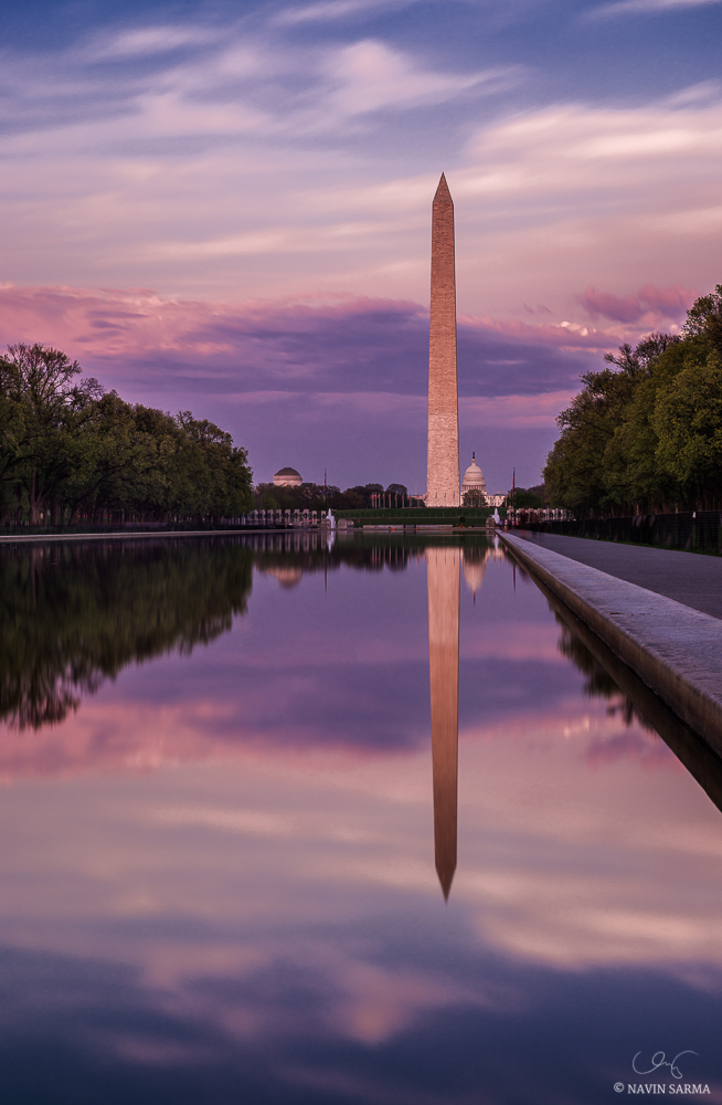 The Lincoln Memorial reflecting pool at sunset