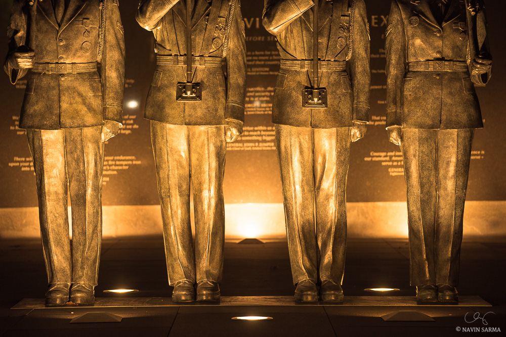 A closeup of the Honor Guard of the Air Force Memorial