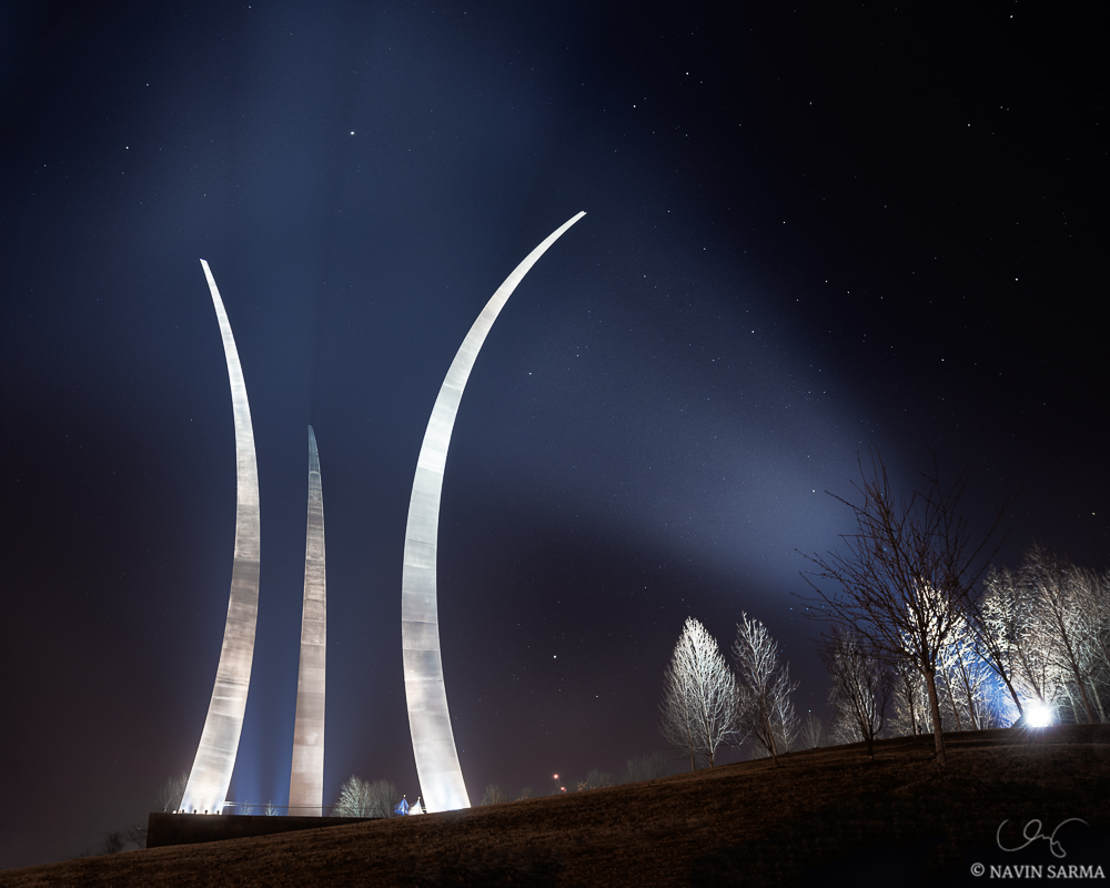Lights and stars shine brightly at the Air Force Memorial