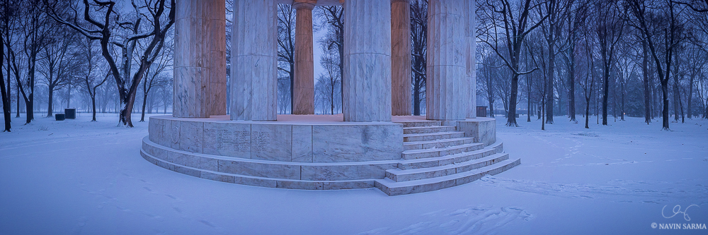 DC War Memorial Snow Panorama