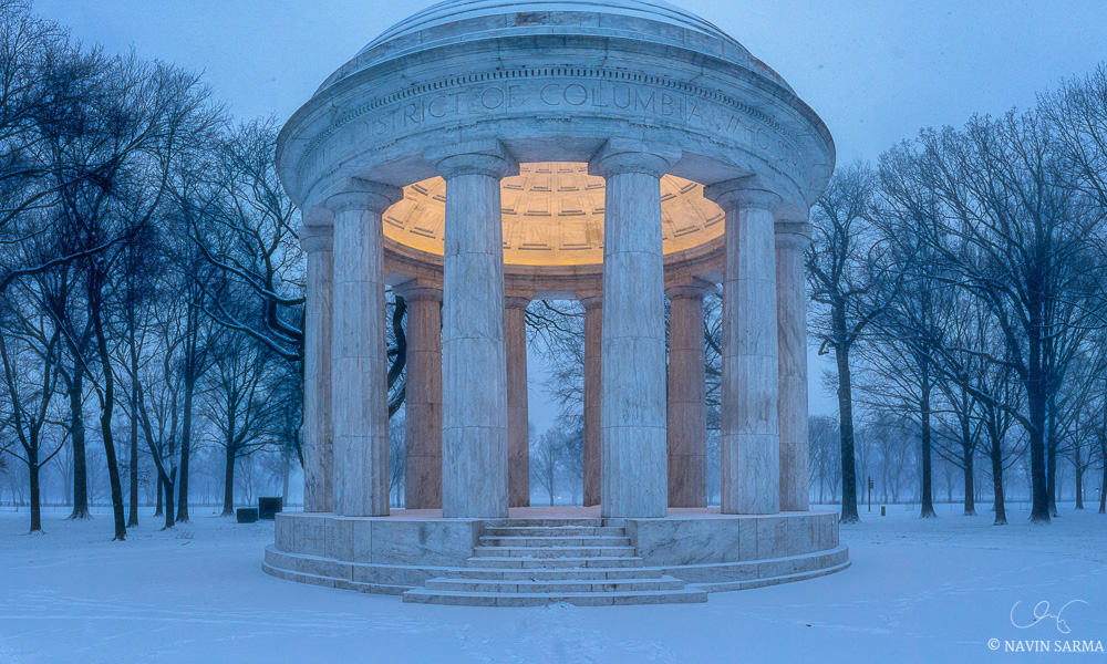 DC War Memorial in the Snow, Blizzard 2016 in Washington DC
