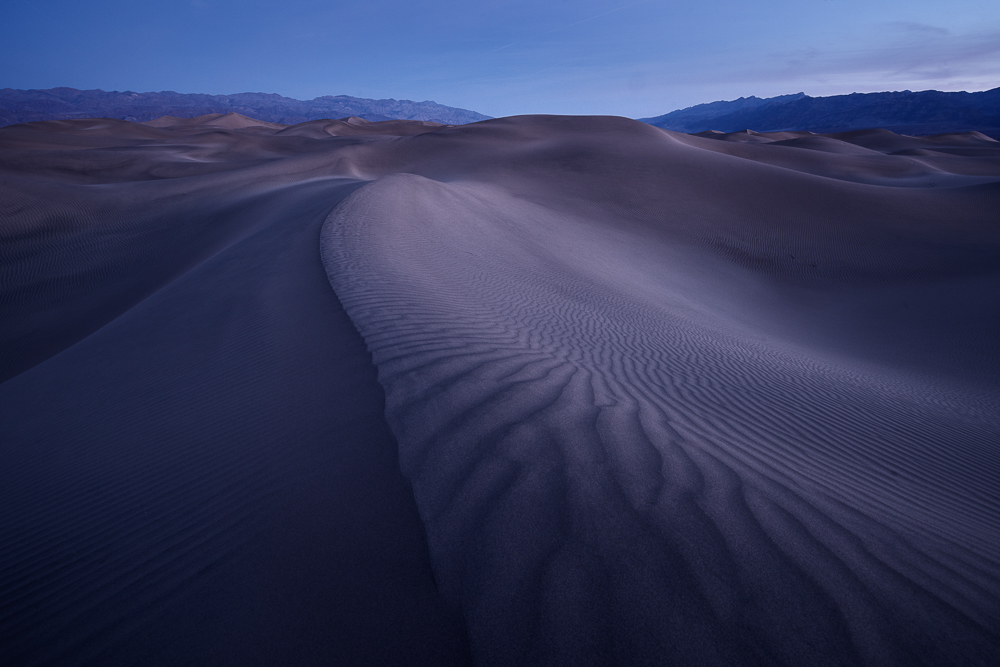 Cool, pre-dawn tones shine over the dunes at Mesquite Flat