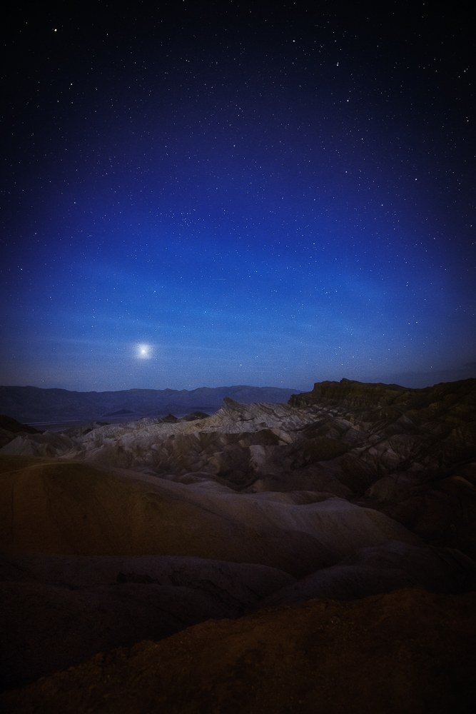 Predawn blues, stars, and venus shine over Zabriskie Point