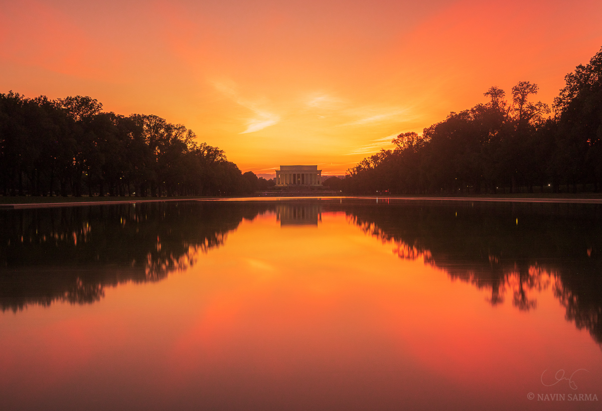 An ND filter warms colors and softens textures at sunset at the Lincoln Memorial reflecting pool