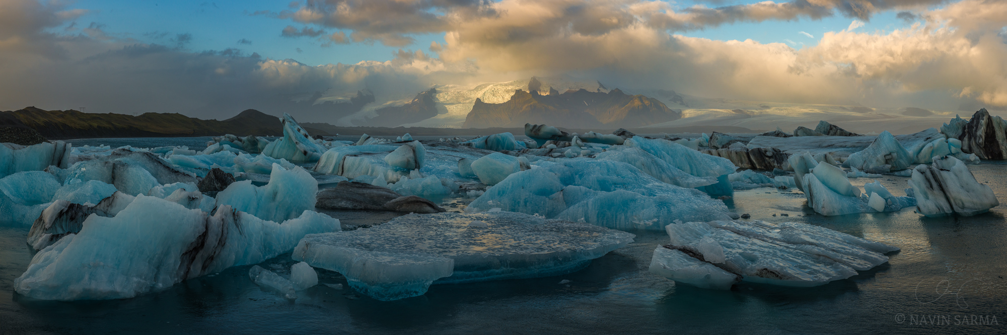 A short break between storms allows beautiful light on the Vatnajökull ice cap of iceland