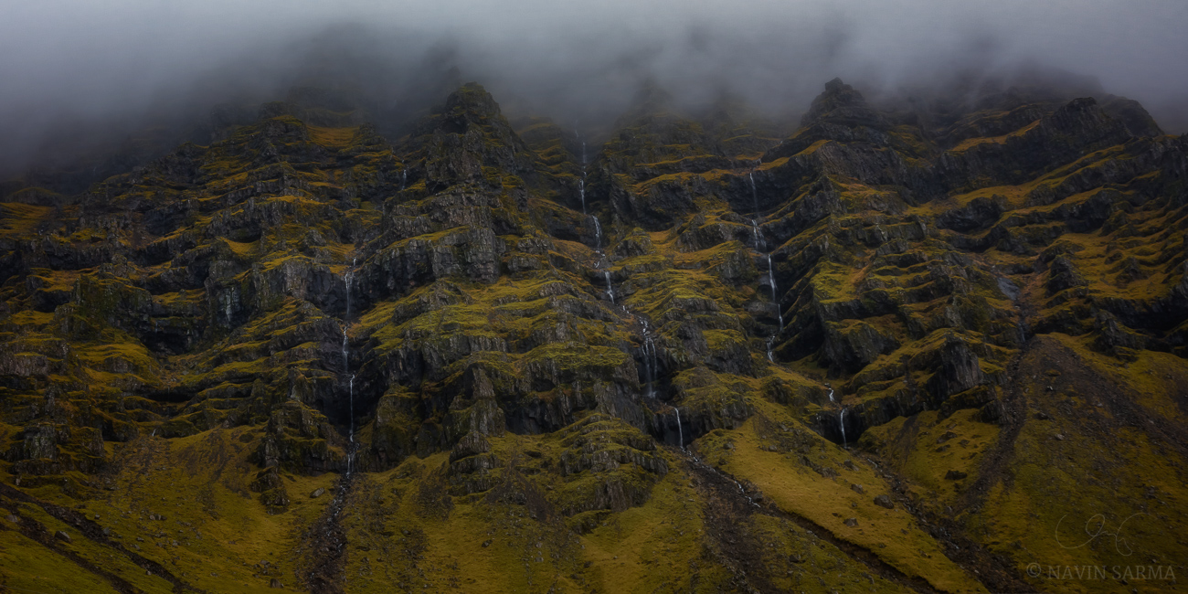 Rain and mist in the high mountains off of ring road in southern Iceland