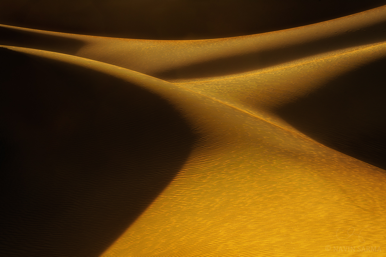 An abstract of light and color turns to sensual lines at Mesquite Flat Sand Dunes
