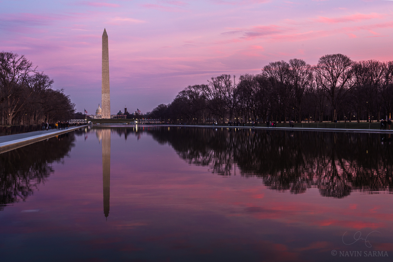 Pink Sunset at the Reflecting Pool
