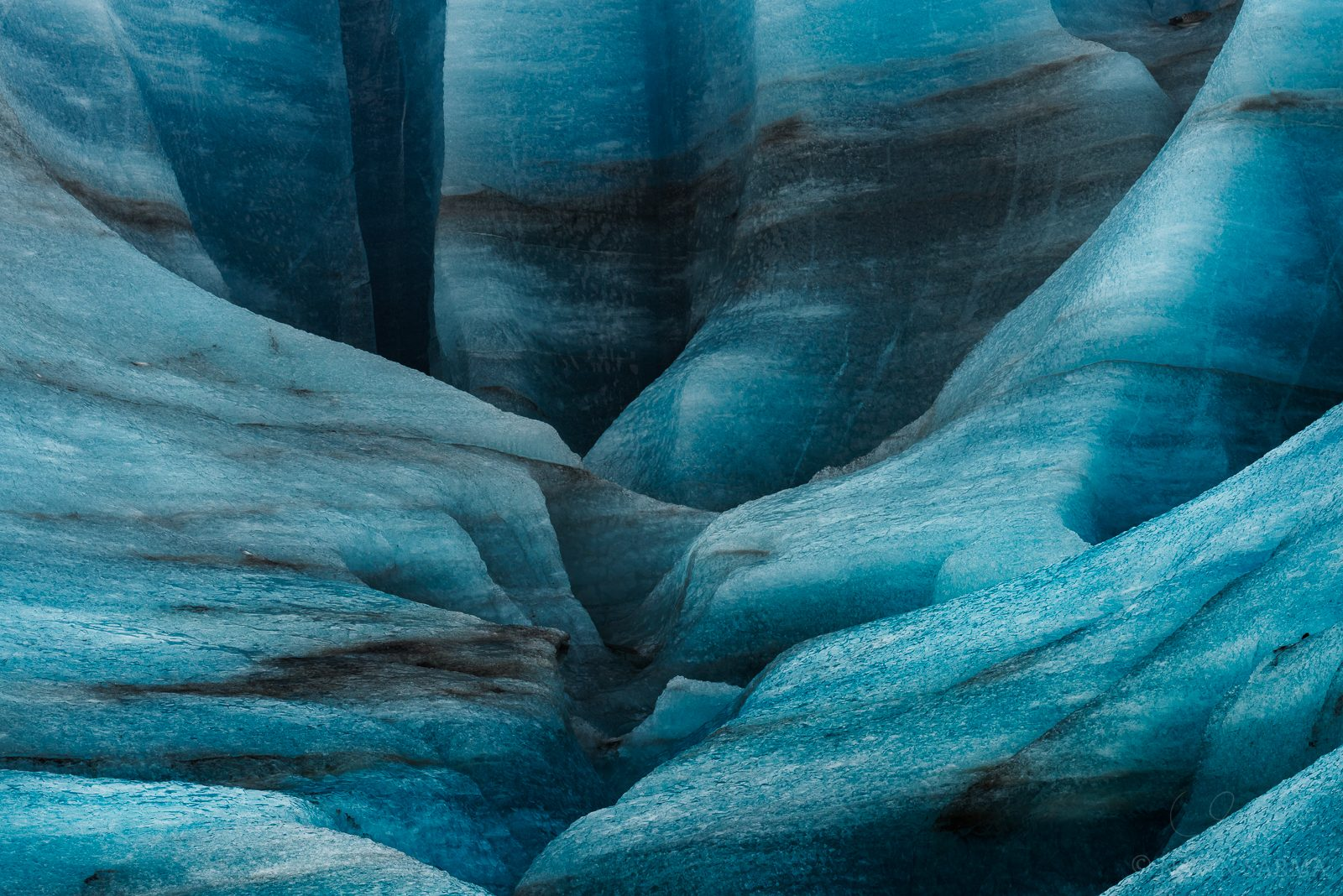 Ice Canyon - A closeup of an ice canyon crevasse atop the Vatnajökull glacier