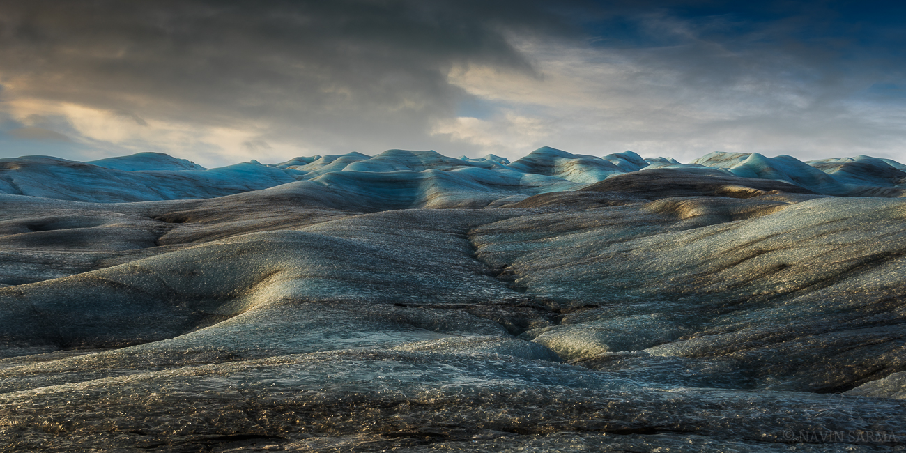 Late afternoon light hits rolling hills of ice atop the  Vatnajökull glacier