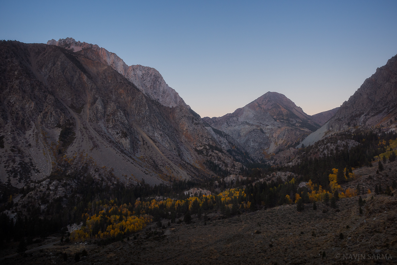 A serene cloudless morning at Lundy Canyon