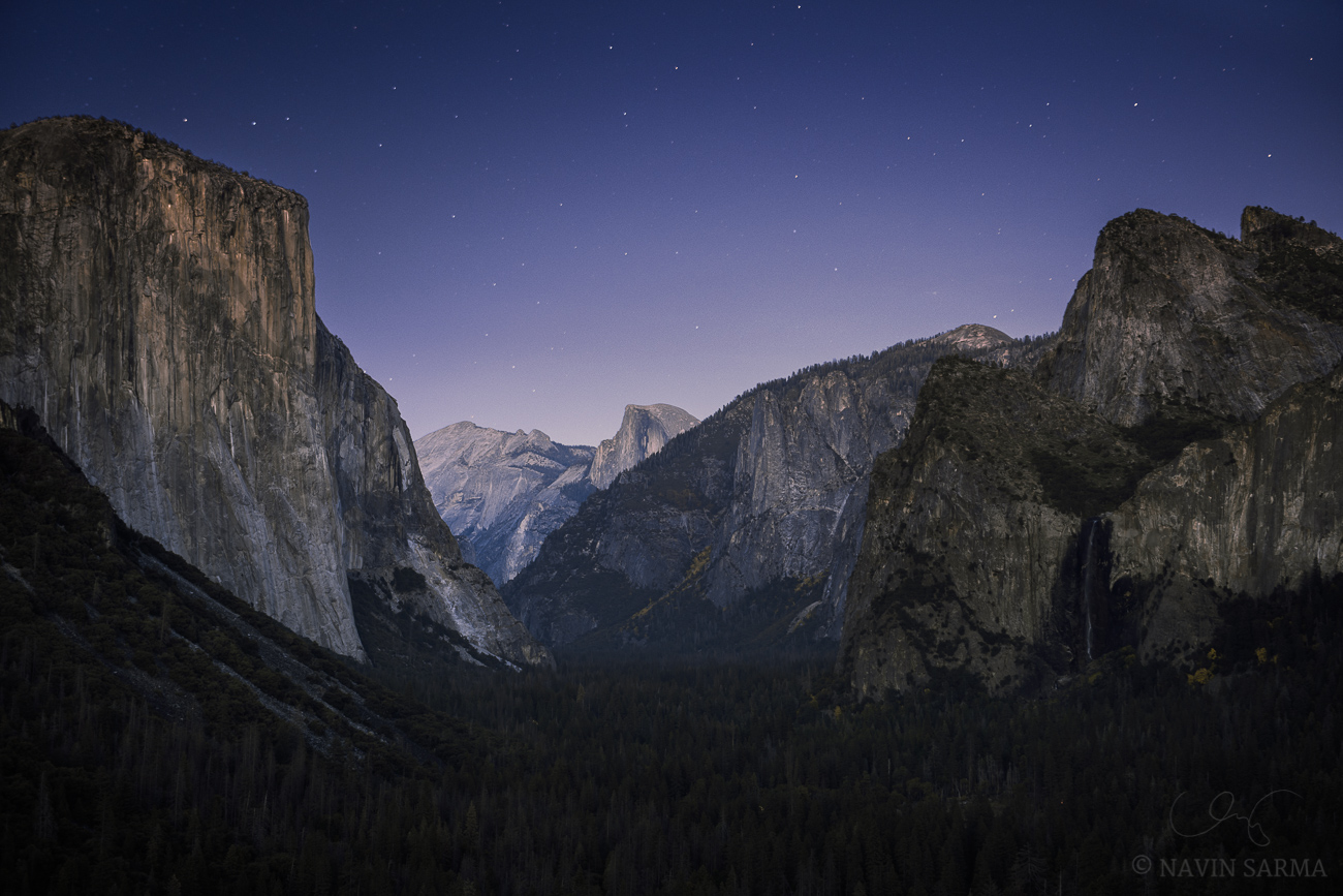 Multiple exposures near twilight at Tunnel View, Yosemite
