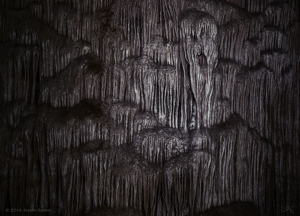 """""""Spirit Court""""  An eerie wall of limestone formations within Crystal Cave, Belize."""