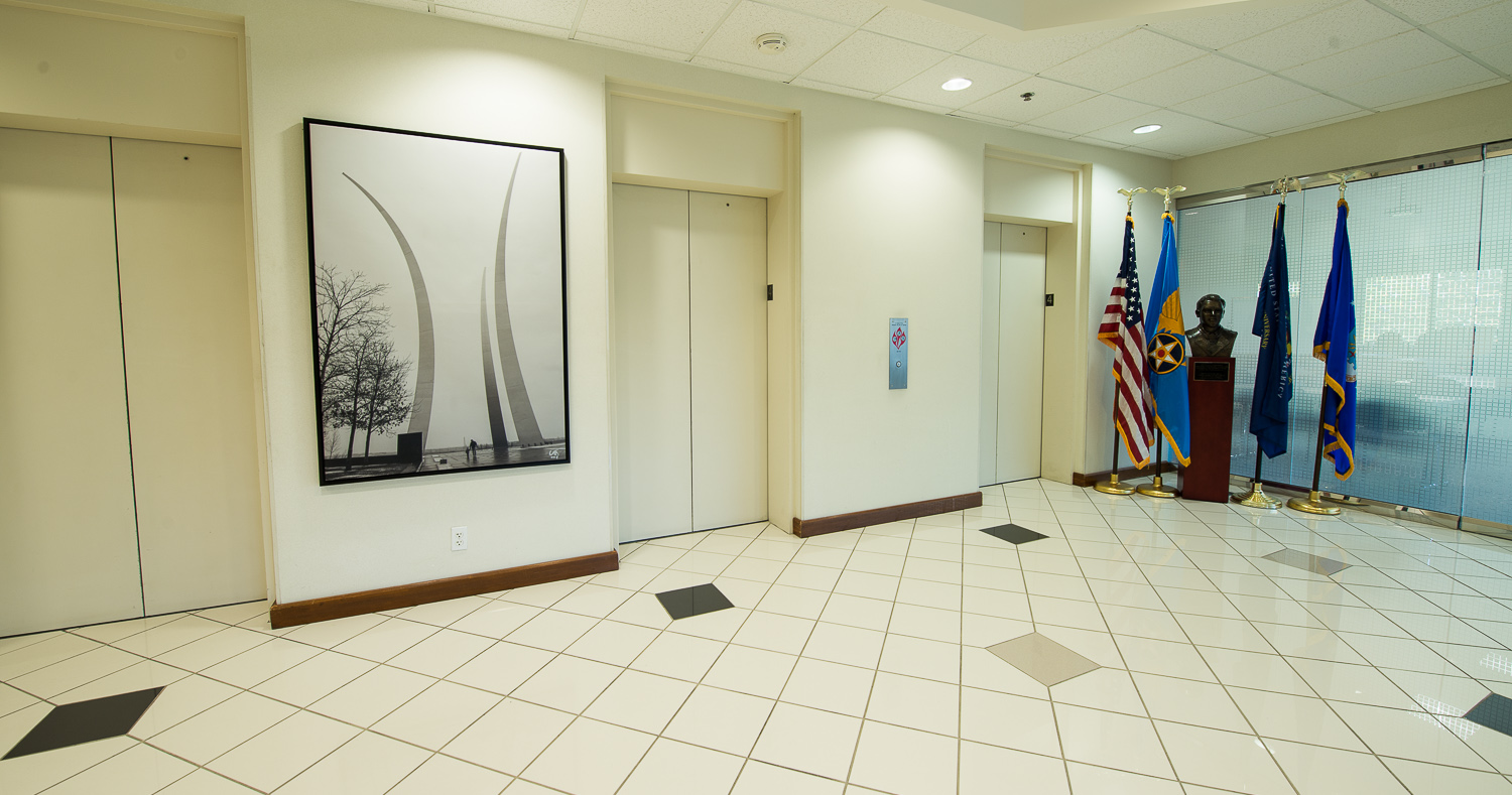 Air Force Memorial art at the Air Force Association Headquarters. Canvas paper on floating black wood
