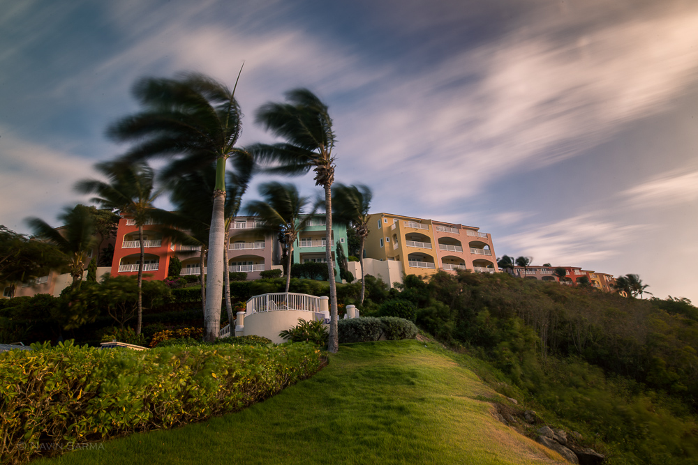 Gusty conditions of a hotel on a cliff in Fajardo, Puerto Rico