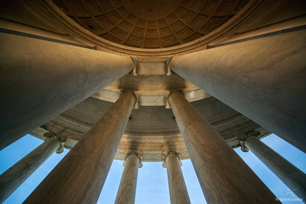 A wide view at the base of the Jefferson Memorial Abstract