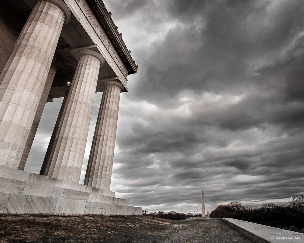 Storm clouds pass by on a windy Friday afternoon in Washington DC