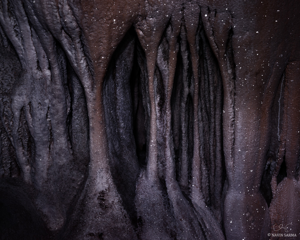 Stalagtite and stalagmites form organic shapes topped by the twinkle of calcite