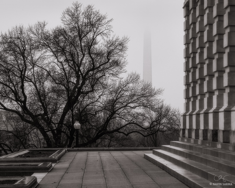 Mist shrouds the Washington Monument as seen from the U.S. Capitol